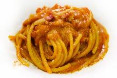 Pasta Bolognese, fine sulla vista fotografia stock