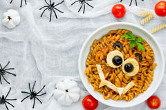 Pasta bolognese on Halloween party, fun recipe for kids to dinne Royalty Free Stock Images