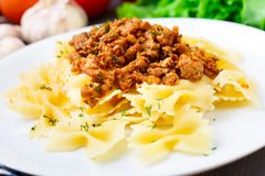 Pasta Bolognese on a plate Stock Image
