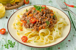 Pasta with Bolognese ragout Stock Photo