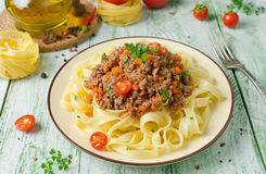 Pasta with Bolognese ragout Royalty Free Stock Image
