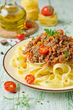 Pasta with Bolognese ragout Stock Image