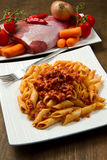 Pasta with bolognese sauce Stock Images