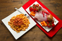 Pasta with bolognese sauce Royalty Free Stock Photos