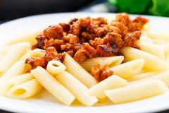 Pasta with bolognese sauce Stock Image