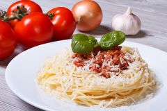 Pasta with bolognese sauce and parmesan cheese Royalty Free Stock Images
