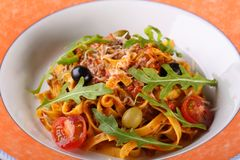 Pasta  Bolognese with tomato sauce Royalty Free Stock Photos