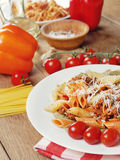 Pasta bolognese on the wooden table royalty free stock photos
