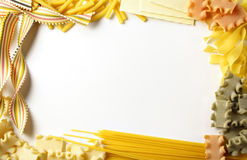Pasta border. Frame built of various italian pasta Stock Photos