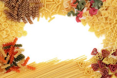 Pasta Border. Pasta dried food abstract border over white background Stock Photo