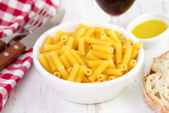 Pasta in bowl with bread Royalty Free Stock Images