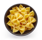 Pasta in bowl  on white, from above Stock Photography
