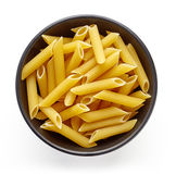 Pasta in bowl  on white, from above Royalty Free Stock Photography