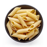 Pasta in bowl  on white, from above Stock Photos