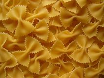 Pasta bows. Close up of uncooked pasta bows royalty free stock photo