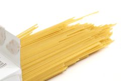 Pasta in box angle royalty free stock photography