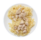 Pasta with braised chicken and spices on a plate Royalty Free Stock Photography
