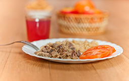 Pasta, braised meat, sliced Royalty Free Stock Images