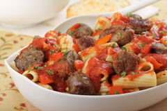 Pasta and Brats Royalty Free Stock Photography