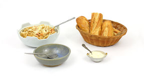 Pasta Bread Grated Cheese Stock Images