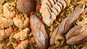 Pasta and bread. Various mix of pasta and bread stock video footage