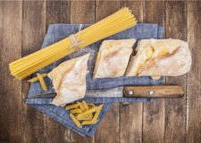 Pasta and bread Royalty Free Stock Images
