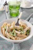 Pasta with broccoli. Vegetarian pasta with broccoli and ricotta Stock Image