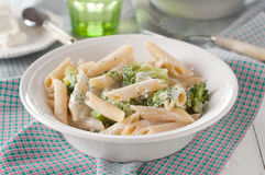 Pasta with broccoli. Vegetarian pasta with broccoli and ricotta, selective focus Stock Photo