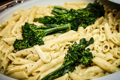 Pasta and Broccoli Stock Images