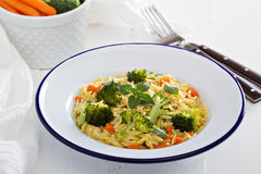 Pasta with broccoli and carrot Royalty Free Stock Photo