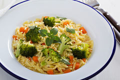 Pasta with broccoli and carrot Stock Photography