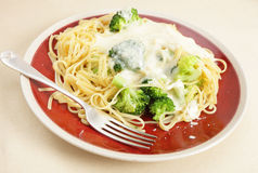 Pasta, broccoli and cheese sauce meal Stock Images