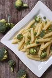 Pasta with broccoli on the table. Stock Image