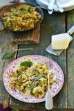 Pasta with brussels sprout Stock Image