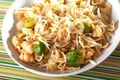 Pasta with brussels sprout Royalty Free Stock Photo