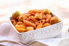 Pasta with Brussels sprouts Royalty Free Stock Images