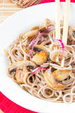 Pasta from buckwheat flour with mushroom Royalty Free Stock Photography