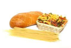 Pasta and bun Stock Images