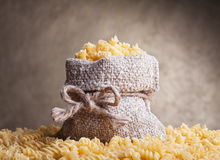 Pasta in burlap bag Royalty Free Stock Photography