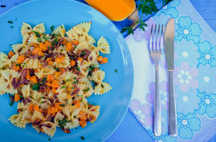 Pasta With Butternut Squash and Prosciutto Stock Images