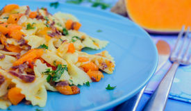 Pasta With Butternut Squash and Prosciutto Stock Image