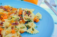 Pasta With Butternut Squash and Prosciutto Royalty Free Stock Photography