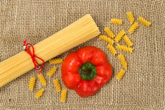 Pasta and canvas Stock Photo