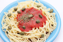 Pasta with capers Stock Photo