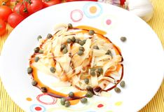 Pasta with capers. Some fresh pasta with capers Royalty Free Stock Photography