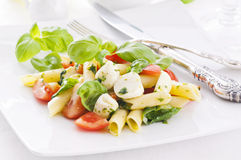 Pasta with caprese salad. Caprese Pasta salad oneth white plate royalty free stock image