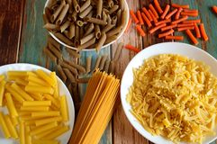 Various types of pasta royalty free stock photography