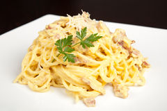 Pasta Carbonara. On a white plate with black background Stock Photography