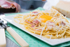 Pasta Carbonara. With bacon and cheese Royalty Free Stock Photography