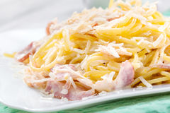 Pasta Carbonara. With bacon and cheese Stock Images